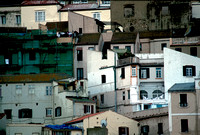 Gibraltar, cityscape, posterized, tenements, clothesline